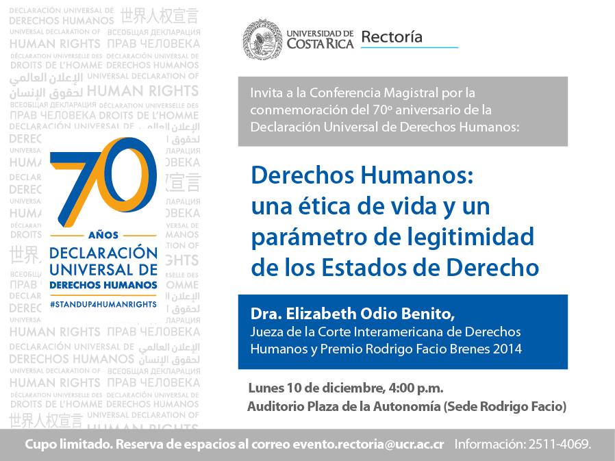 Invitación para conferencia de Elizabeth Odio, 10 de diciembre a las 4 pm en el Auditorio de la Plaza de la Autonomía.